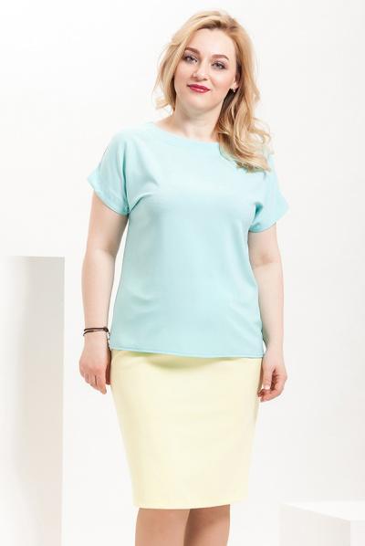 Блуза светло-мятная из крепа, Б-210/1